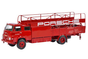 【送料無料】模型車 モデルカー スポーツカー ポルシェレースカートランスポーターschuco pror 08944 143 man porsche renntransporter neu