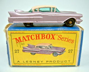 【送料無料】模型車 モデルカー スポーツカー マッチキャデラックボックスブラックホイールmatchbox rw 27c cadillac 60 special lilamet schwarze rder in box