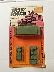 【送料無料】模型車 モデルカー スポーツカー ビンテージアーミーセット#vintage midgetoy 1974 task force army set ambulance, transport, pumper 840 noc