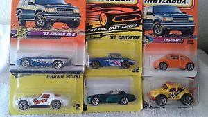 【送料無料】模型車 モデルカー スポーツカー マッチダッジバイパーコルベットジャガーバグ6 matchbox cars dodge viper, 62 corvette, 97 jaguar,vw bug 1993,1996