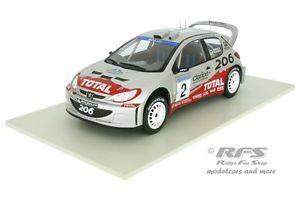 【送料無料】模型車 モデルカー スポーツカー プジョーラリースウェーデンアルpeugeot 206 wrc rallye schweden 2002 grnholm rautiainen 118 al182002s02