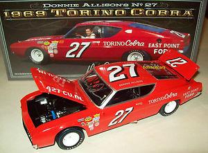 【送料無料】模型車 モデルカー スポーツカー イーストポイント#フォードトリノコブラサインdonnie allison 1969 east point ford 27 torino cobra signed autograph 124