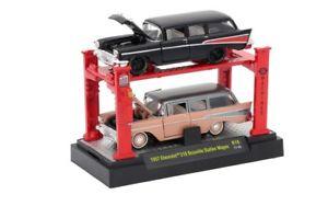 【送料無料】模型車 モデルカー スポーツカー シボレーノマドセットボーヴィルマシンリフト57 chevrolet beauville 210 nomad set 1957 ** m2 machines autolift 164 ovp