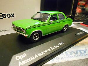 【送料無料】模型車 モデルカー スポーツカー オペルアスコナドアハッチバックグリーンバザールネットワークホワイトボックスopel ascona a 2 trer grn sommer basar 1975 sonderpreis ixo white box 143