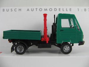 【送料無料】模型車 モデルカー スポーツカー ブッシュクレーンプラットフォームbusch 42221 multicar m 26 pritsche mit kran 1991 in grn 187h0 neuovp
