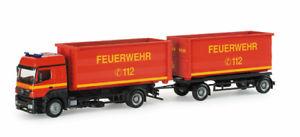 【送料無料】模型車 モデルカー スポーツカー メルセデスベンツローリングトレーラーherpa h0 153133 mercedesbenz axor abrollmuldenhngerzug feuerwehr