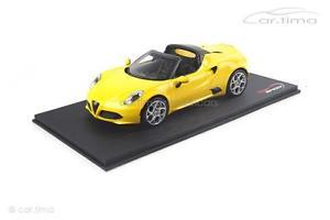 【送料無料】模型車 モデルカー スポーツカー アルファロメオクモプロトalfa romeo 4c spider giallo prototipo 1 of 999 topspeed 118 ts0017