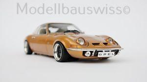 【送料無料】模型車 モデルカー スポーツカー オペルモデルスイスゴールドチューニングopel gt 1968 gold 118 tuning rar modellbauswiss
