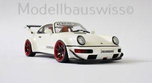 【送料無料】模型車 モデルカー スポーツカー ソフトウェアライセンスポルシェホワイトチューニングリムモデルスイスタグrwb porsche 964 weiss 118 1zu18 118 tuning umbau felgen modellbauswiss
