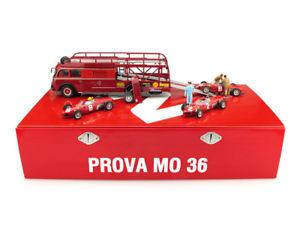 【送料無料】模型車 モデルカー スポーツカー フェラーリレースセットフィアットハムrace transporter ferrari set fiat 642 3 f156 and 2 mecanics 1961 brumm 143