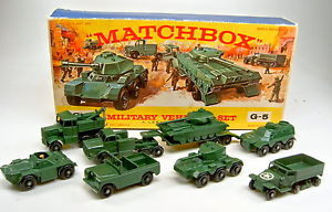 【送料無料】模型車 モデルカー スポーツカー マッチボックスセットトップmatchbox g5 military vehicle set giftset 1964 top in e box