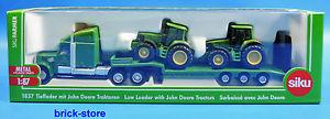 【送料無料】模型車 モデルカー スポーツカー ジョンディアトターローダsiku 1837 187 siku farmer tieflader mit 2 john deere traktoren