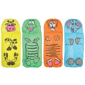 【送料無料】キャンプ用品 ジャングルキリン kids animal sleeping bag sleepover jungle elephant crocodile tiger giraffe