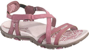 【送料無料】キャンプ用品 サンダルハイキングmerrellクリノイガローズwomensmerrell sandspur rose womens strap blushing leather hiking walking sandals