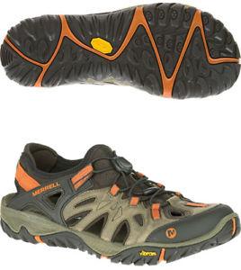 【送料無料】キャンプ用品 メンズウォーキングシューズブラウンアウトmerrell all out blaze sieve mens walking shoes brown