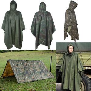 【送料無料】キャンプ用品 ポンチョフードripstopハイキングコートrain poncho waterproof army hooded ripstop festival military camping hiking coat