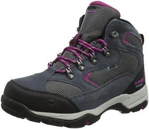 【送料無料】キャンプ用品 ストームミッドトップスエードウォーキングブーツグレーパープル womens hitec storm mid top waterproof suede walking boots uk39 greypurple