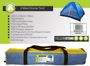 Yellowstone 2 Person Dome Tent with Carry Bag /& Fittings Included Blue CampingT4