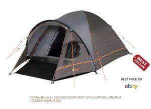 【送料無料】キャンプ用品 ポータルブラボードームテントportal bravo 3 3 person dome tent with vestibule, 4000mm, 300x180x120cm, 3,6kg