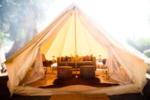 【送料無料】キャンプ用品 4mベージュwaterpoofコットンキャンバステントユルトテント68personglamping4m beige waterpoof glamping cotton canvas bell tent yurt british tents 68