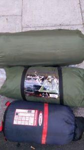 【送料無料】キャンプ用品 エイボンデラックステントバッグマットavon dlx 3 man tent, sleeping bag and self inflating mat