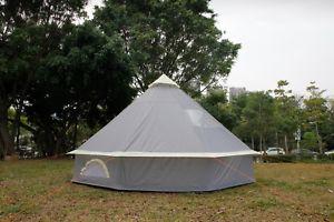 【送料無料】キャンプ用品 メートルテントピラミッドラウンドベルジッパーアースシートテントグレー4m tent pyramid round bell tent grey with zipped in ground sheet water proof
