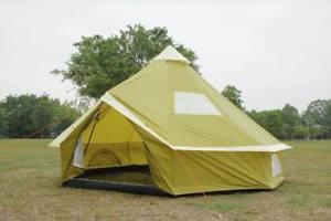【送料無料】キャンプ用品 ファイルグランドシートキャンプファミリーテントバースベルテント4m bell tent with zipped in ground sheet olivegreen camping family tent 8 berth