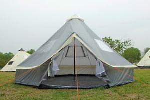 【送料無料】キャンプ用品 4mテントメーターグラウンドシートテントテント84m bell tent metre zippedingroundsheet tent family 8 person camping tent grey