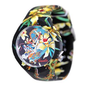 orologio solo tempo doodle cassa acciaio cinturino silicone con fantasia tattoo
