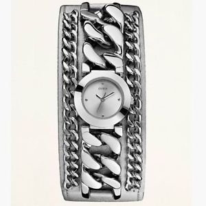 guess women silver leather chain watch
