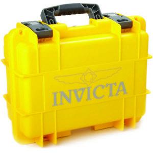 invicta ig0097sm1sy 3 slot yellow plastic watch box case