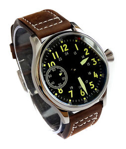 【送料無料】aviator's 44mm pilots hand wind 6497 vintage styling military watch