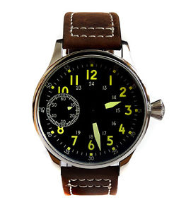 aviator's 44mm pilots hand wind 6497 vintage styling military watch