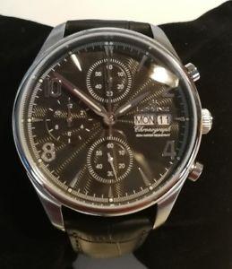 【送料無料】orologio uomo lorenz,chrono,cronografo,day date,acciaio,cinturino pelle nero