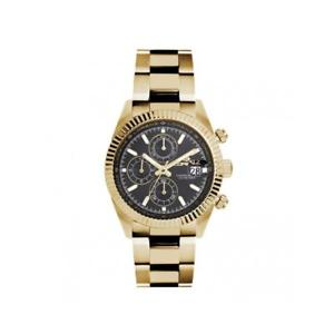 【送料無料】orologio uomo lorenz ginevra 030094hh chrono bracciale acciaio gold dorato nero