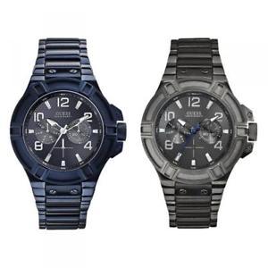 【送料無料】orologio uomo guess rigor bracciale acciaio multifunzione blu grigio 100 mt dd