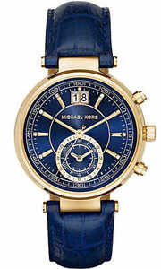 【送料無料】** michael kors mk2425 ladies gold blue sawyer watch 2 years warranty