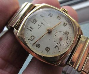 【送料無料】vintage small size 9 ct gold leda gents wrist watch