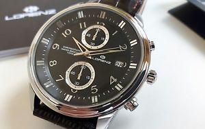 【送料無料】orologio uomo lorenz,cronografo classico,elegante,cinturino pelle,chrono,10 atm