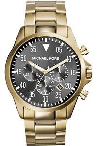 【送料無料】** michael kors gage watch mk8361 mens gold tone chronograph