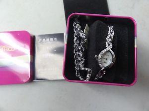 【送料無料】watch womens by time100 real nice with bracelet in pink tin box
