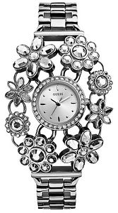 【送料無料】guess silver tone crystal gem bracelet blossom flower mini watch w0138l1