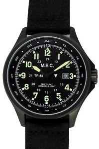 【送料無料】orologio uomo vintage nero acciaio militare sportivo subacqueo mec military