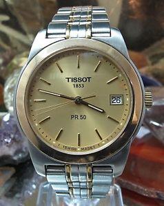 tissot pr50 gents 50m two tone titanium date watch one year warranty j376476k