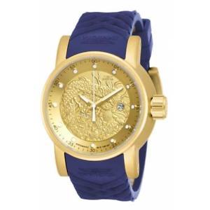 【送料無料】rare invicta yakuza automatic matte finish goldtone ip blue strap watch 18215