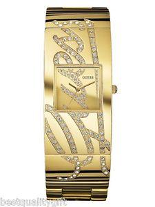 【送料無料】guess gold tone ssteelcrystal pave logo bracelet cuff watch u15045l1