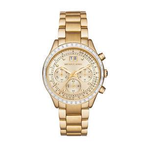 【送料無料】 michael kors mk6187 brinkley gold chronograph watch 2 years warranty