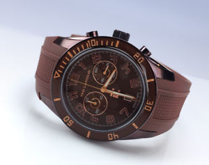 neues angebotted lapidus mens 5125006sm brown ip swiss chronograph silicone strap watch