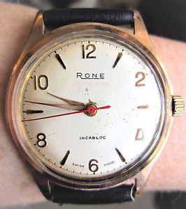 gents 1950s rose gold plated rone automatic watch 17 jewels eta 2451 serviced