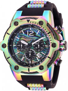 【送料無料】invicta mens bolt quartz 100m iridescent stainless steelsilicone watch 28033